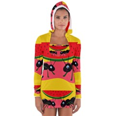 Ants And Watermelon  Women s Long Sleeve Hooded T Shirt