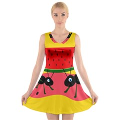 Ants and watermelon  V-Neck Sleeveless Skater Dress