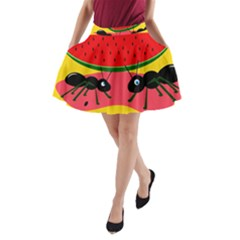 Ants and watermelon  A-Line Pocket Skirt