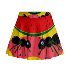 Ants And Watermelon  Mini Flare Skirt