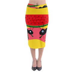 Ants And Watermelon  Midi Pencil Skirt