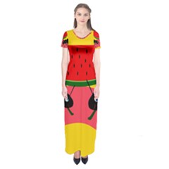 Ants And Watermelon  Short Sleeve Maxi Dress