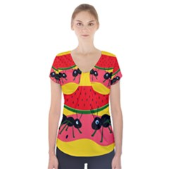 Ants And Watermelon  Short Sleeve Front Detail Top