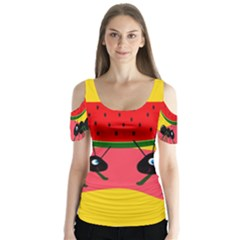 Ants And Watermelon  Butterfly Sleeve Cutout Tee