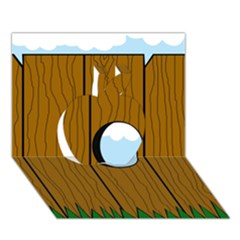 Over the fence  Apple 3D Greeting Card (7x5)