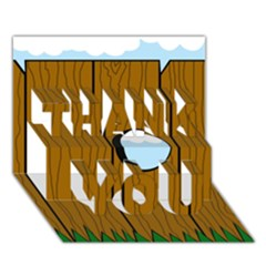 Over the fence  THANK YOU 3D Greeting Card (7x5)