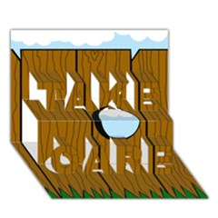 Over the fence  TAKE CARE 3D Greeting Card (7x5)