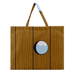 Over The Fence  Zipper Large Tote Bag