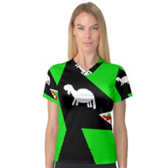 Wolf and sheep Women s V-Neck Sport Mesh Tee