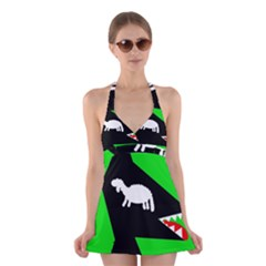 Wolf and sheep Halter Swimsuit Dress