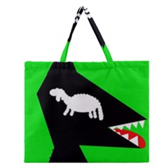Wolf and sheep Zipper Large Tote Bag