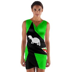 Wolf and sheep Wrap Front Bodycon Dress