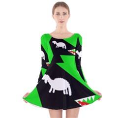 Wolf And Sheep Long Sleeve Velvet Skater Dress