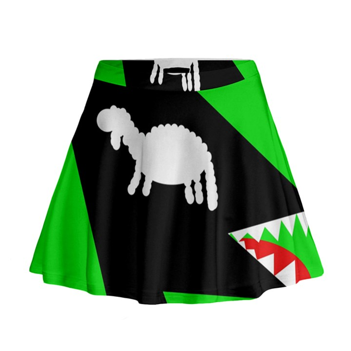 Wolf and sheep Mini Flare Skirt