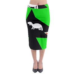 Wolf And Sheep Midi Pencil Skirt