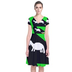 Wolf And Sheep Short Sleeve Front Wrap Dress