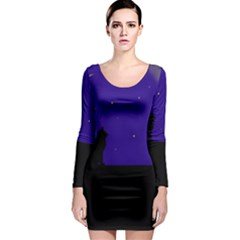 Cat on the roof  Long Sleeve Bodycon Dress