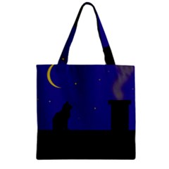 Cat on the roof  Zipper Grocery Tote Bag
