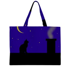 Cat On The Roof  Zipper Large Tote Bag
