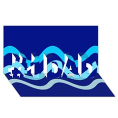 Blue waves  #1 DAD 3D Greeting Card (8x4)