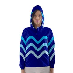 Blue waves  Hooded Wind Breaker (Women)
