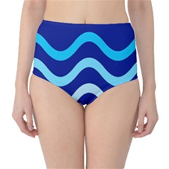 Blue waves  High-Waist Bikini Bottoms