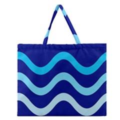 Blue Waves  Zipper Large Tote Bag