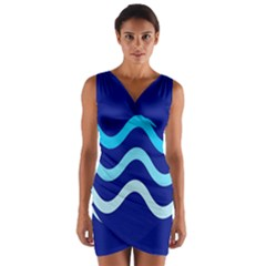 Blue waves  Wrap Front Bodycon Dress