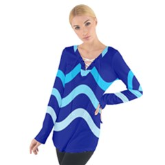 Blue waves  Women s Tie Up Tee