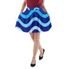 Blue waves  A-Line Pocket Skirt