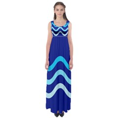 Blue waves  Empire Waist Maxi Dress