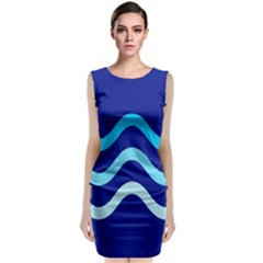 Blue Waves  Classic Sleeveless Midi Dress