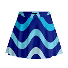 Blue Waves  Mini Flare Skirt