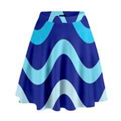 Blue Waves  High Waist Skirt
