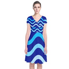 Blue Waves  Short Sleeve Front Wrap Dress