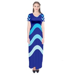 Blue Waves  Short Sleeve Maxi Dress