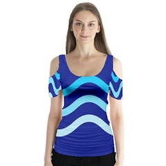 Blue Waves  Butterfly Sleeve Cutout Tee