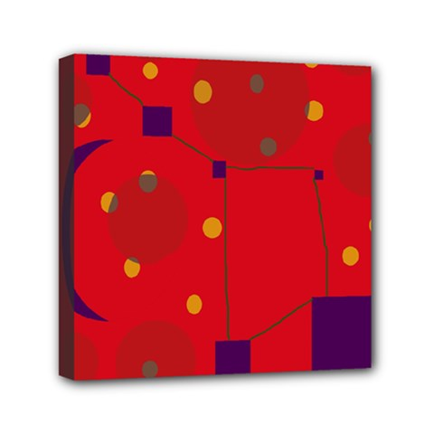 Red abstract sky Mini Canvas 6  x 6