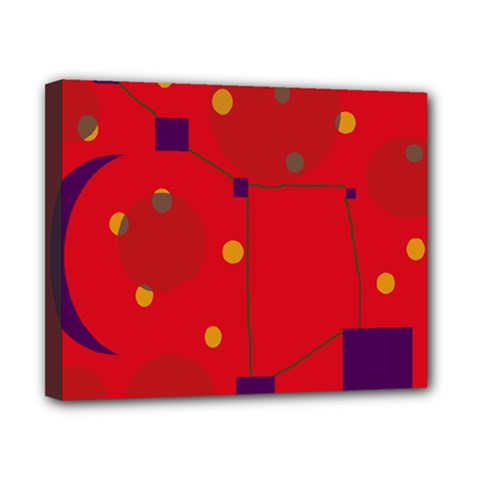 Red abstract sky Canvas 10  x 8
