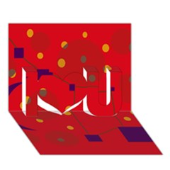 Red abstract sky I Love You 3D Greeting Card (7x5)
