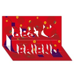 Red abstract sky Best Friends 3D Greeting Card (8x4)
