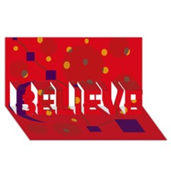 Red abstract sky BELIEVE 3D Greeting Card (8x4)