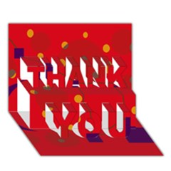 Red abstract sky THANK YOU 3D Greeting Card (7x5)