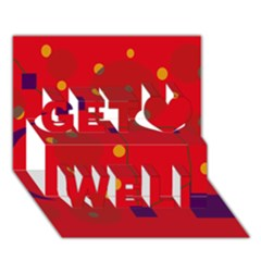 Red abstract sky Get Well 3D Greeting Card (7x5)