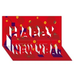 Red Abstract Sky Happy New Year 3d Greeting Card (8x4)