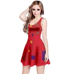 Red abstract sky Reversible Sleeveless Dress