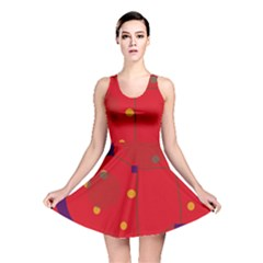 Red abstract sky Reversible Skater Dress