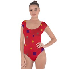 Red abstract sky Short Sleeve Leotard