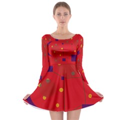 Red abstract sky Long Sleeve Skater Dress