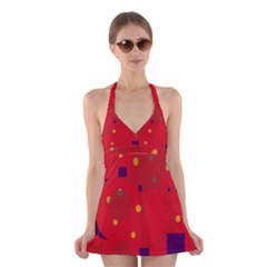 Red abstract sky Halter Swimsuit Dress